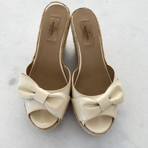 Valentino Ivory Patent Leather Wedge Sandals - 38